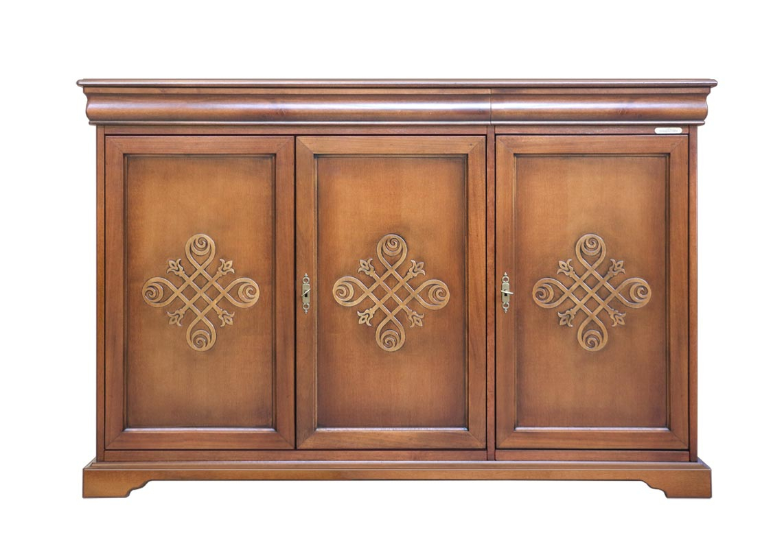 3 decorated door sideboard Louis Philippe style