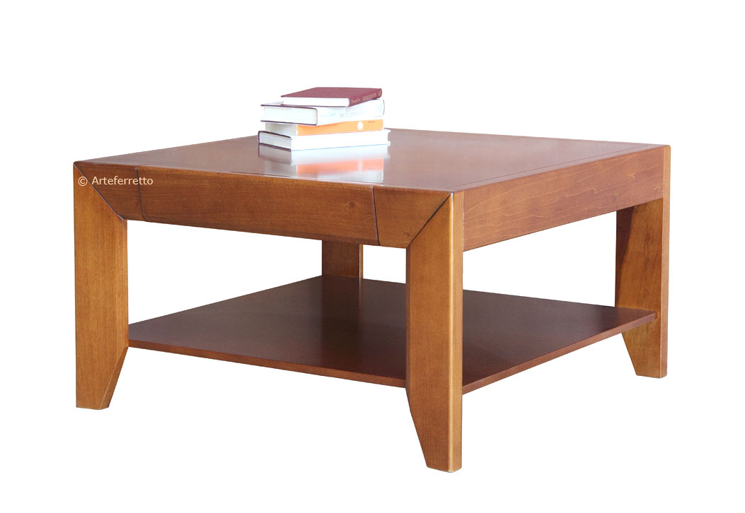 Squared coffee table with drawer