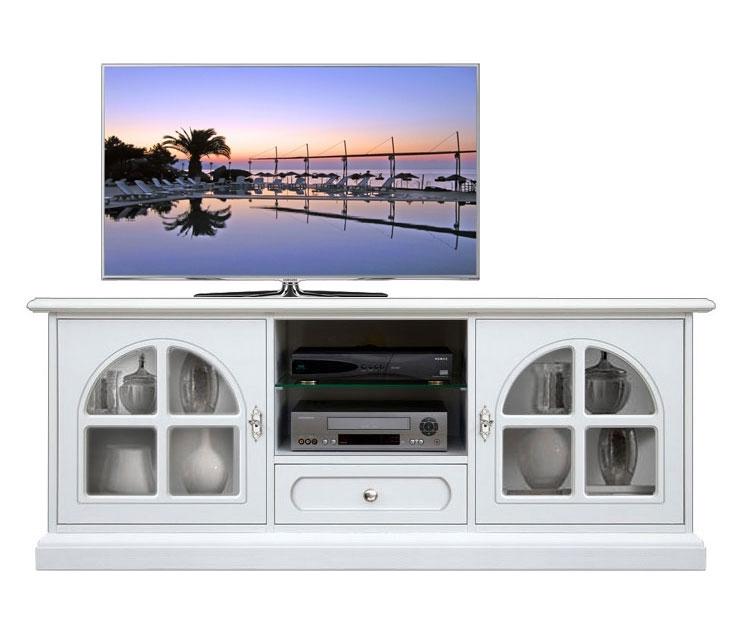 White Tv cabinet with glass door Diamond