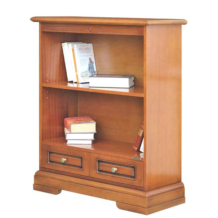 Wooden low bookcase with a drawer