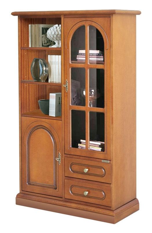 Wooden display cabinet with glass door