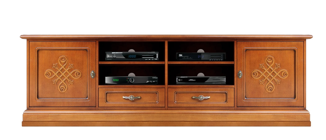 Wooden tv stand with friezes