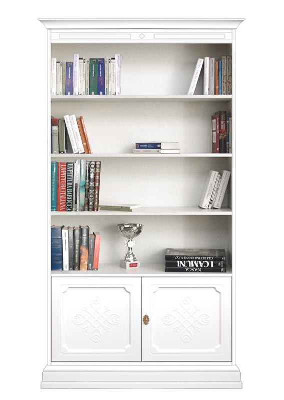 Wooden bookcase with engraved doors