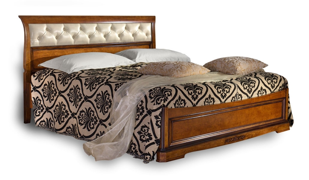 Upholstered headboard bed, solid wood structure