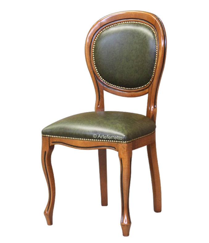 Beech wood dining chair with genuine leather