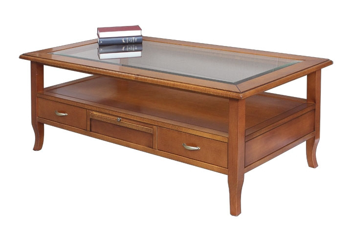 Wooden coffee table 4 drawers