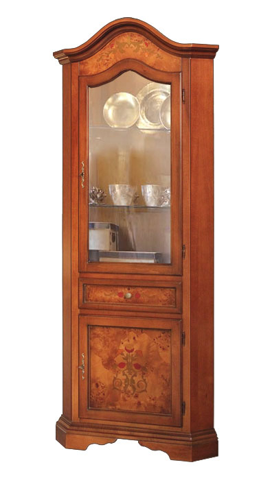 Corner display cabinet with inlay
