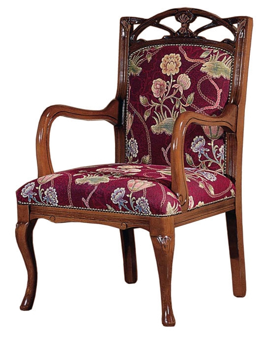 Traditional wood armchair, Helena Burst style