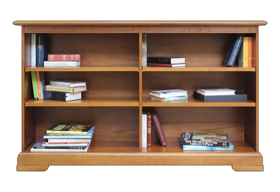 Low bookcase with adjustable shelves