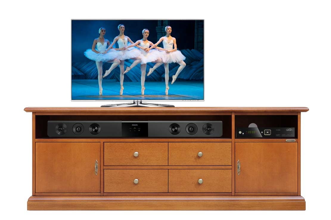Wooden tv unit 160 cm soundbar opening