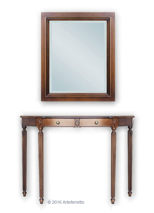Entryway composition console table with mirror