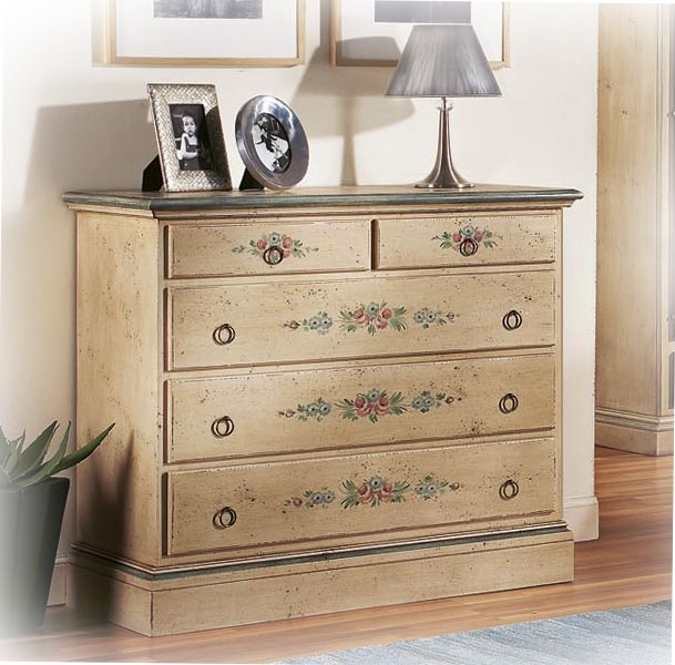 Decorated dresser 5 drawers, solid wood