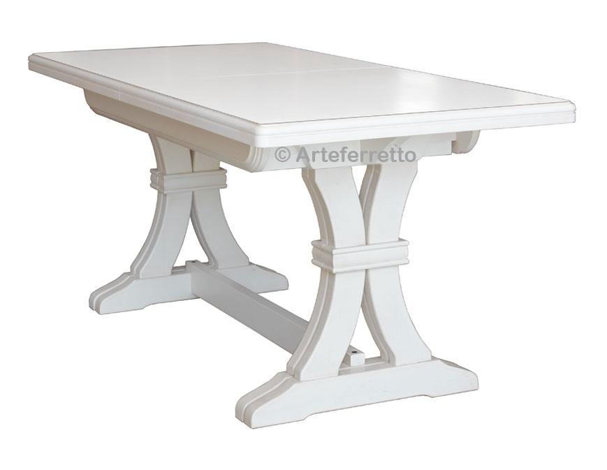 Extendable trestle table, solid wood 180-360 cm