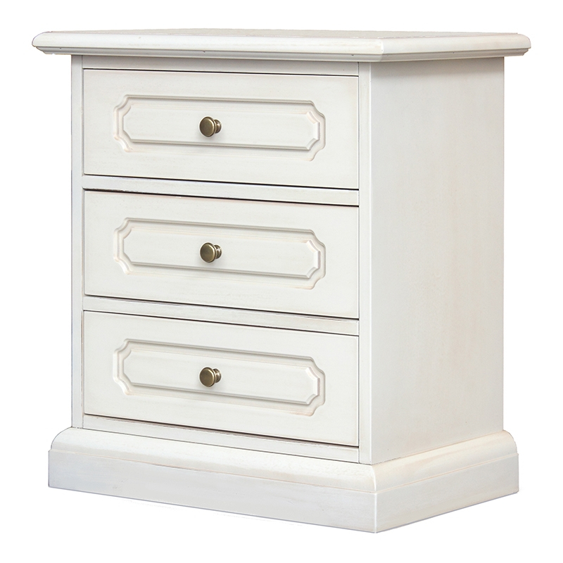 Lacquered classic 3 drawer nightstand