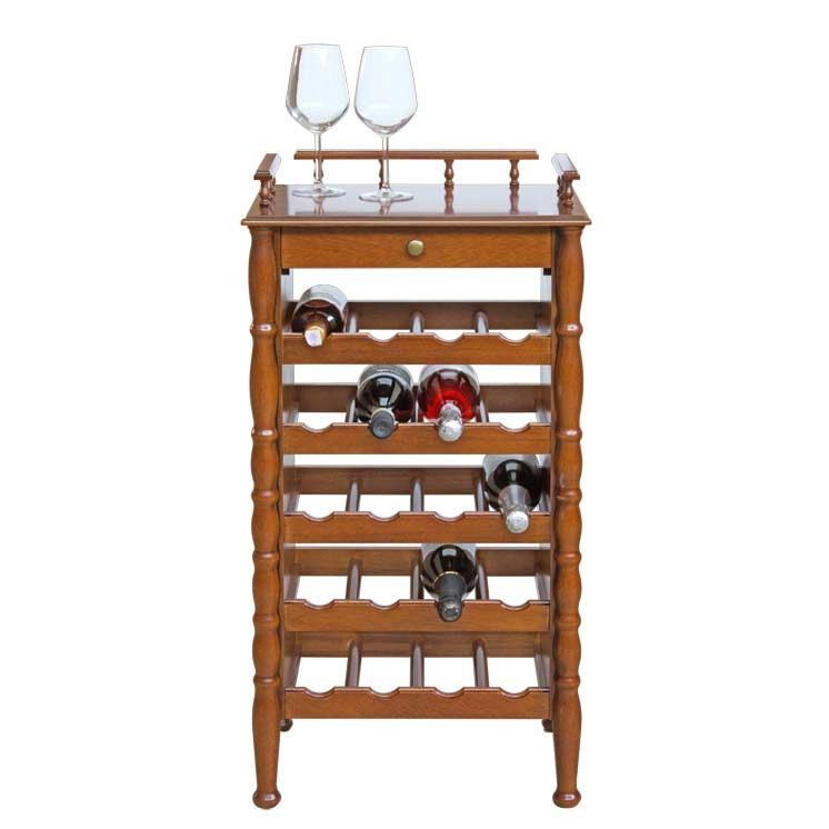 Wine rack in wood with drawer