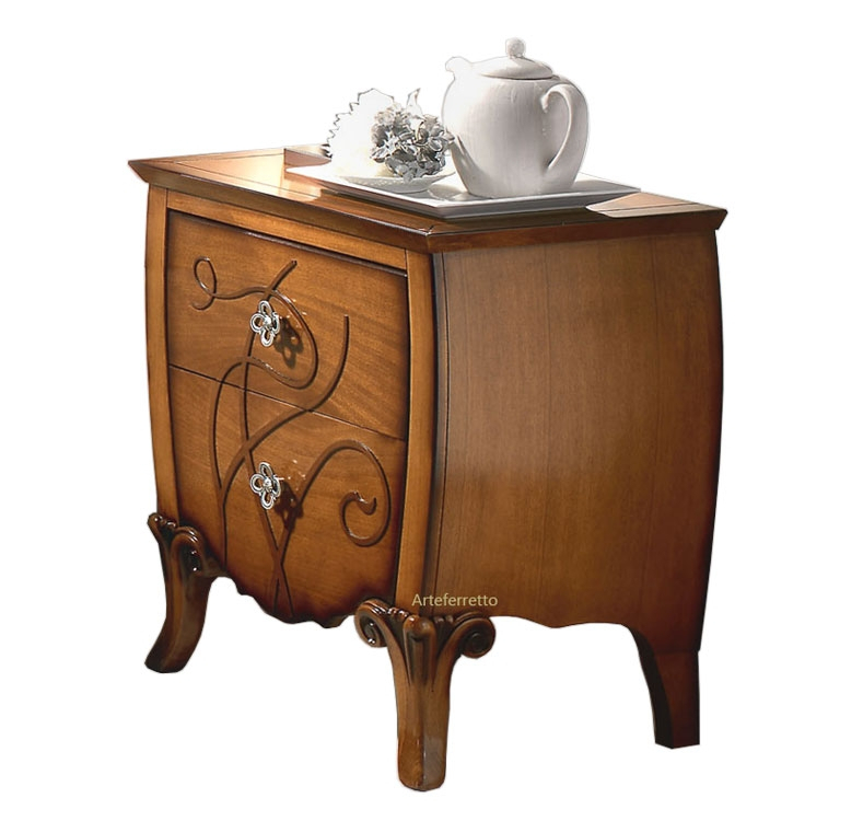Decorated bedside table in wood