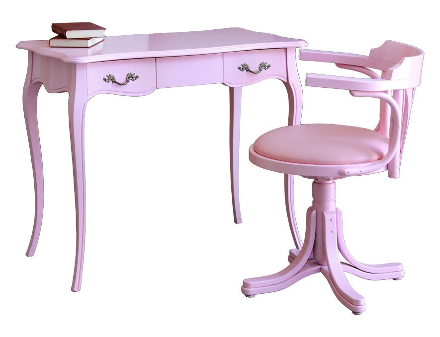 Pink desk with chair