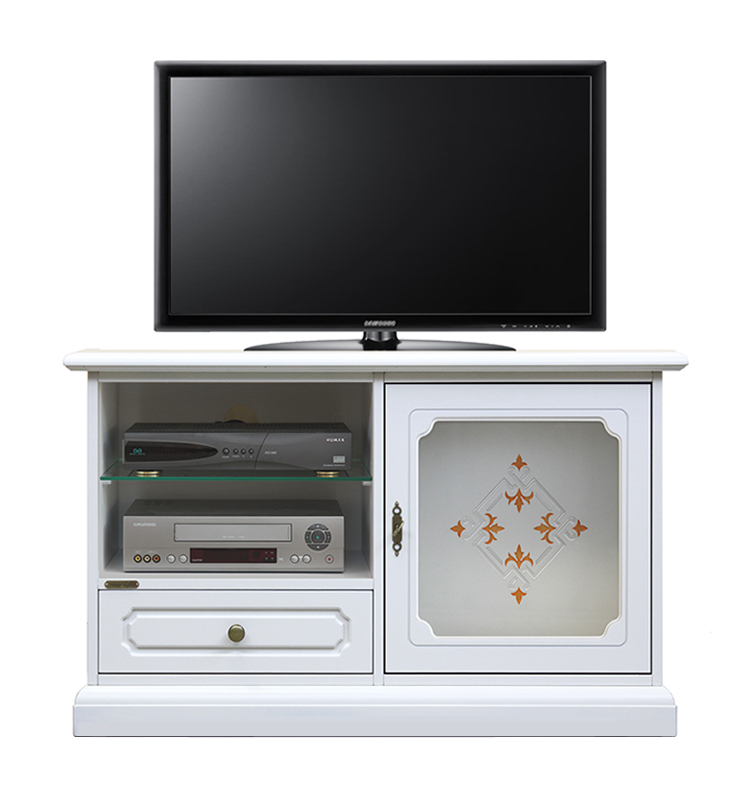 Decorated glass door tv unit for living room