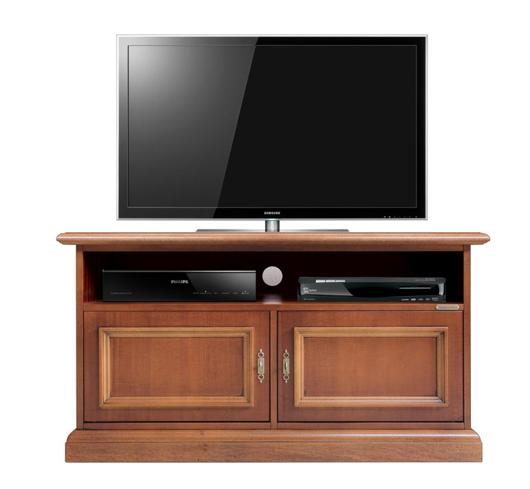 Low wooden tv stand 2 door soundbar shelf