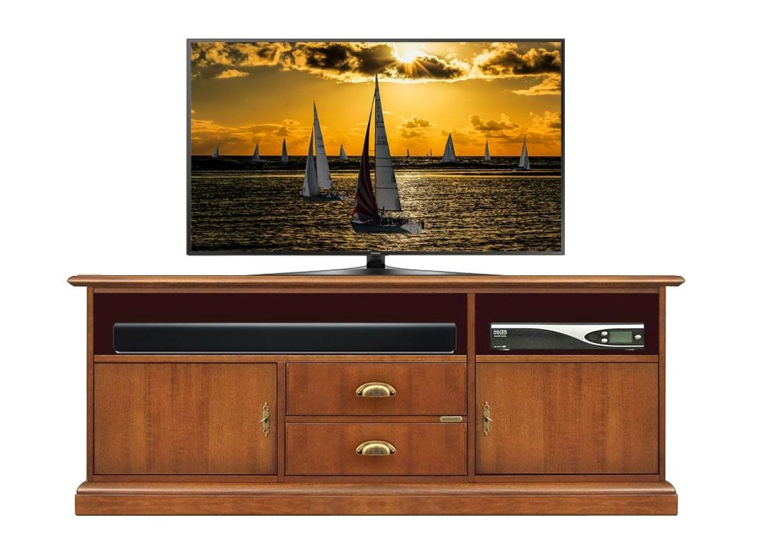 Low tv unit in wood + soundbar shelf