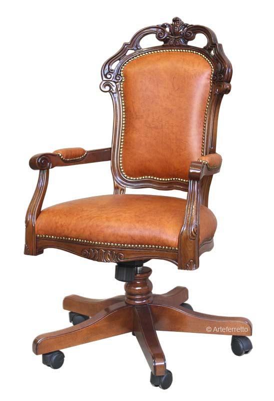 Leather office swivel armchair