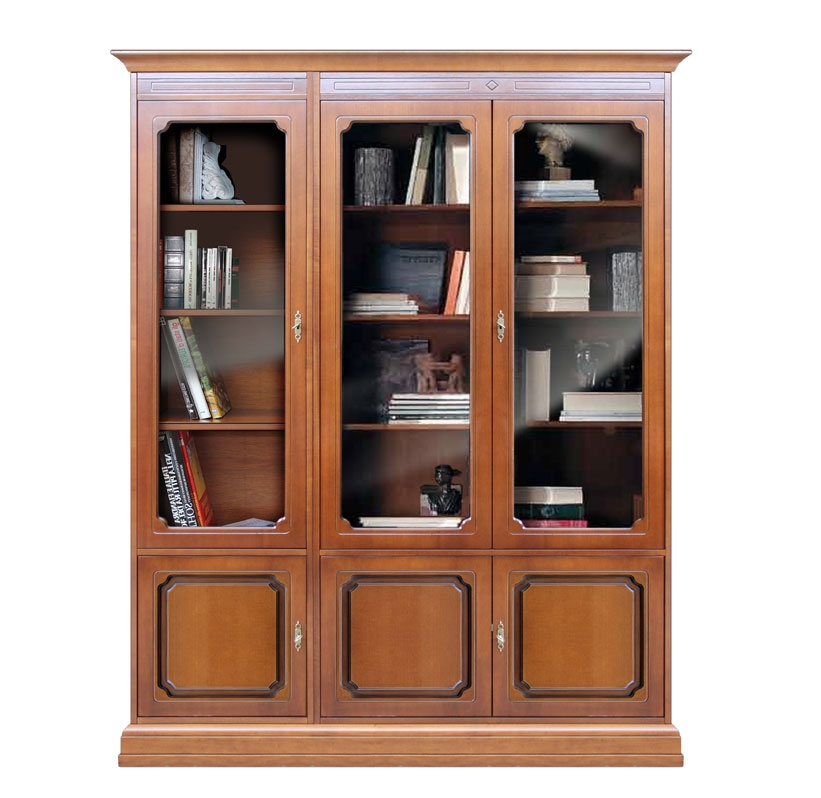 Classic bookcase with glass doors