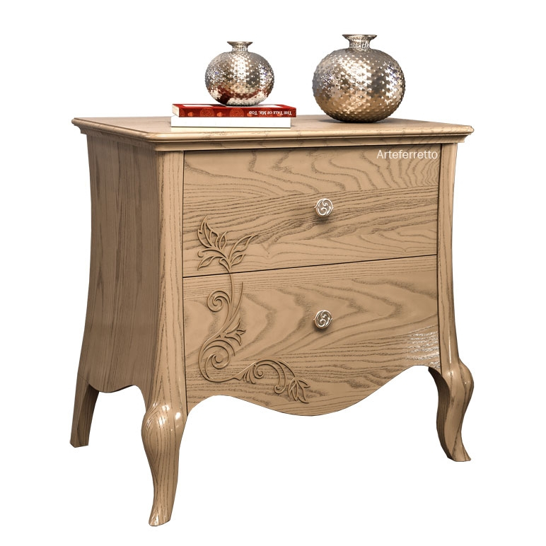 Floral decorated bedside table 2 drawers Dolci sogni