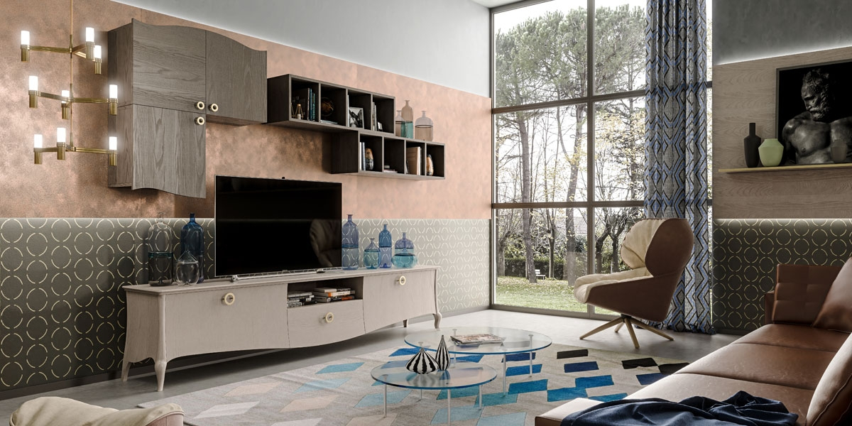 Entertainment wall unit in wood