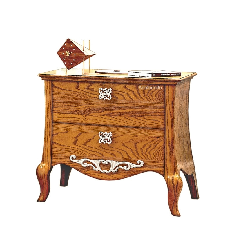 2 drawer bedside table in wood Romantico