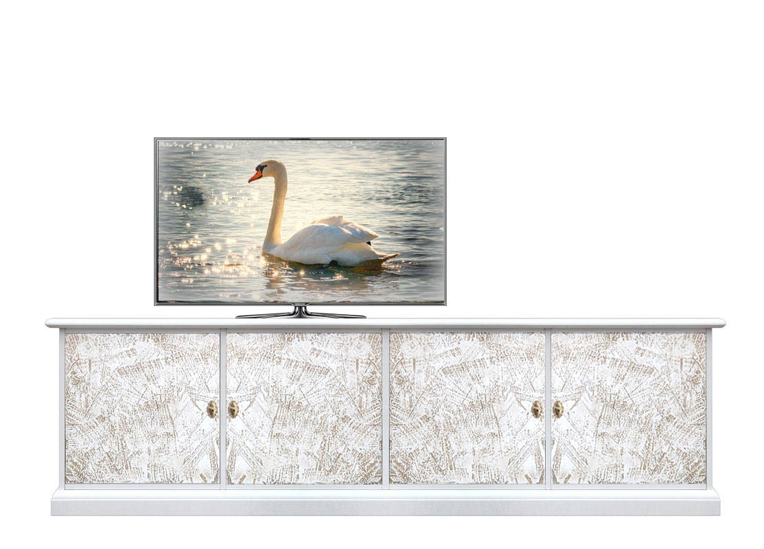 Decorated entertainment unit in wood
