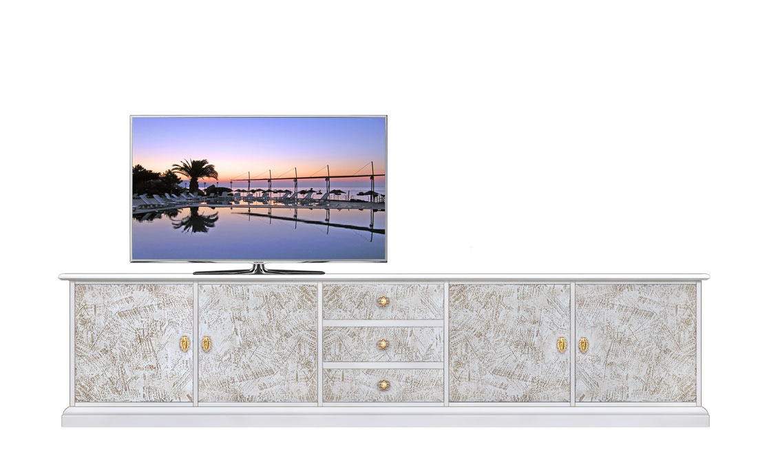 Living room TV stand with decorations