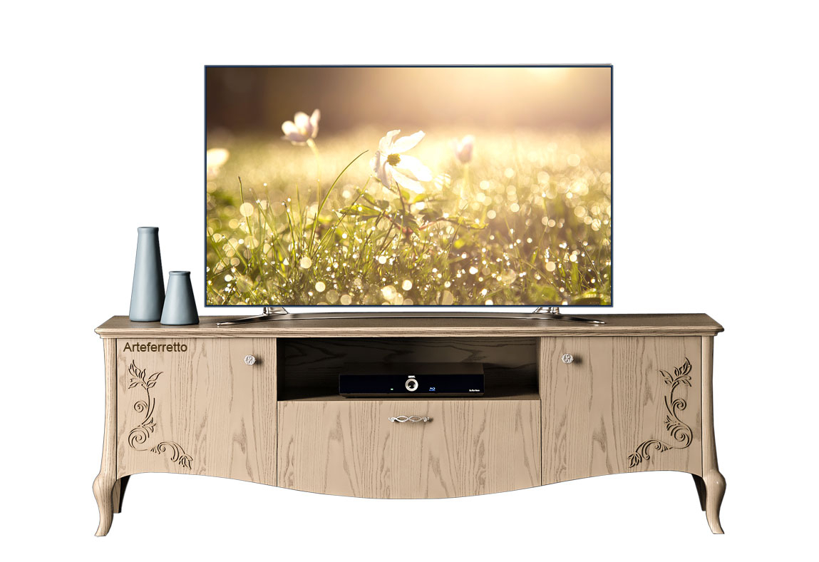 Decorated tv cabinet in wood