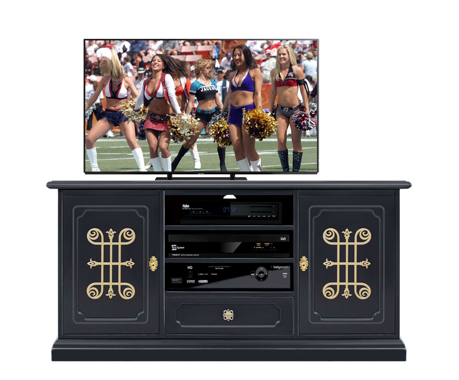 Black entertainment TV unit 130 cm, YOU collection with gold decorations