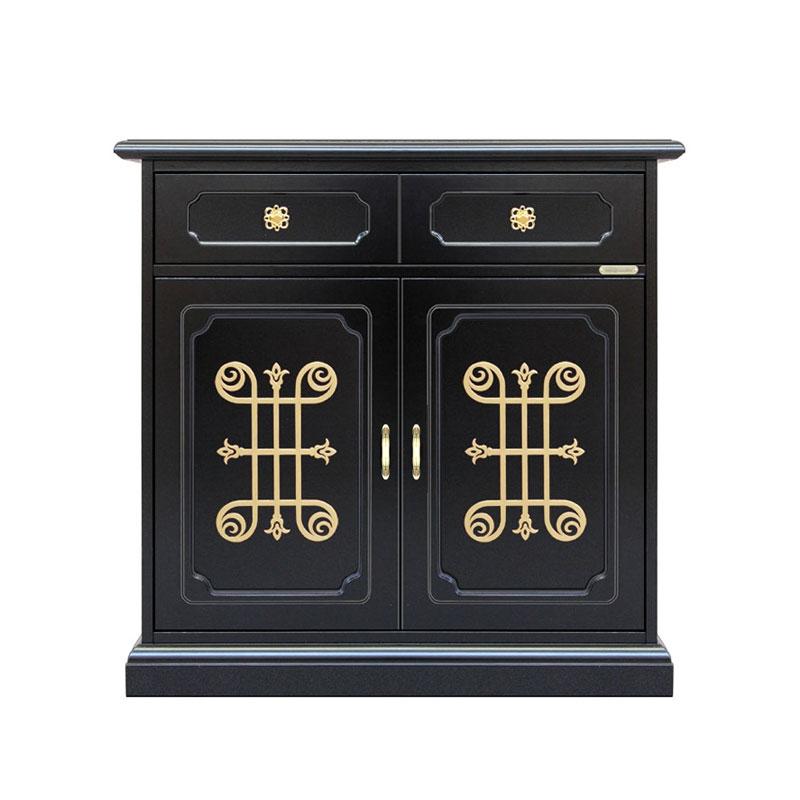 2 door black unit gold pattern