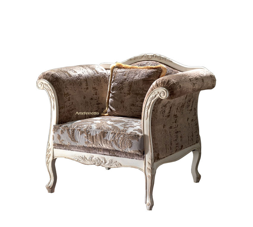 Upholstered reading armchair for living room