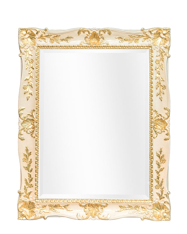 Lacquered mirror with gold leaf details