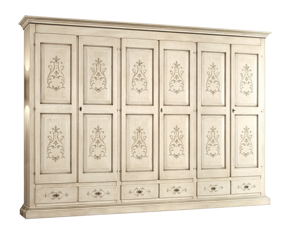 Decorated wardrobe in solid wood