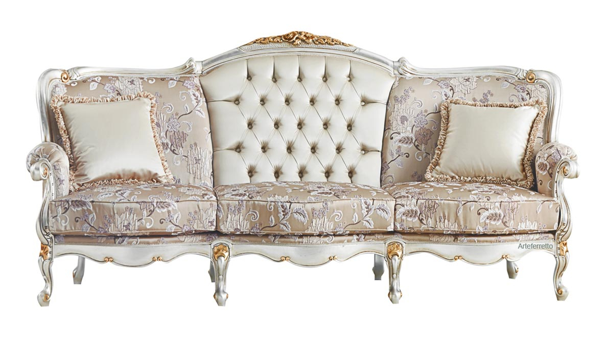 Luxury 3 seater sofa with golden leaf decorations