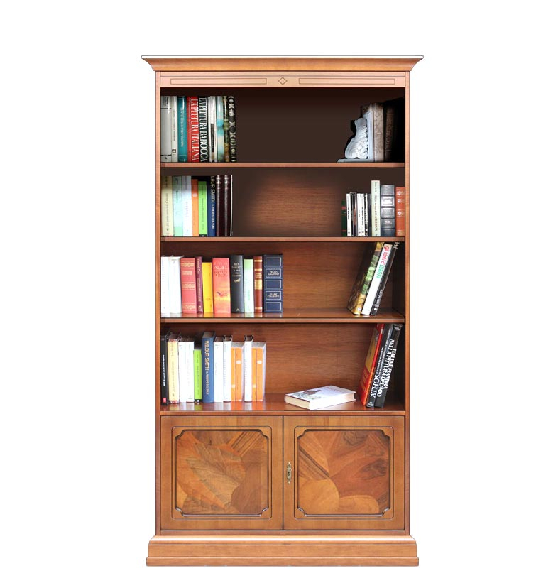 Wood bookcase with briar root doors