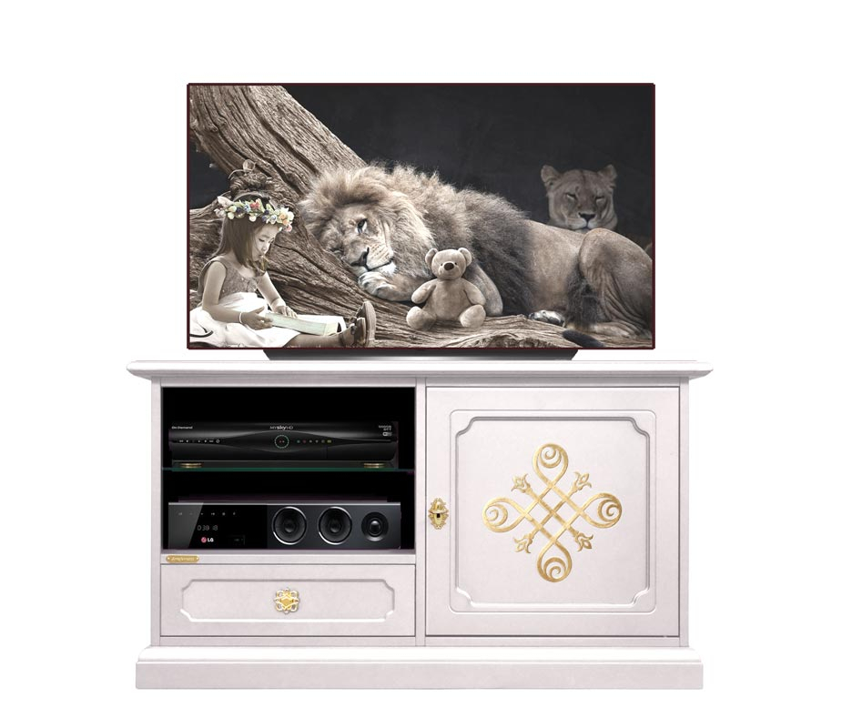Decorated TV unit in wood, 'LAQ collection'
