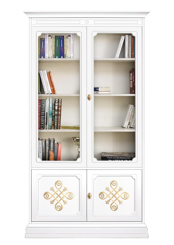Golden decorations display cabinet with glass doors