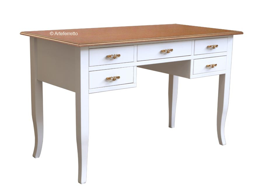 Two tone writing desk in wood 5 drawers