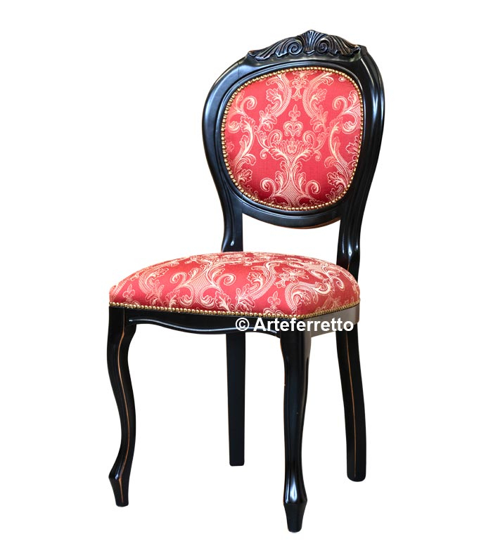 Lacquered carved chair for dining room