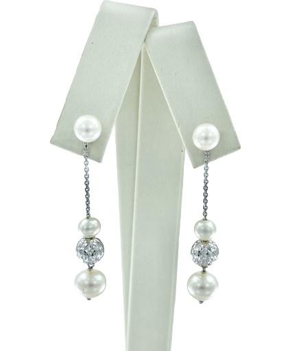Orecchini Yukiko pendenti in oro bianco  con  perle