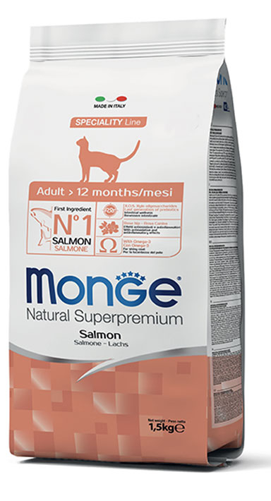 MONGE NATURAL SUPERPREMIUM GATTO ADULT SALMONE
