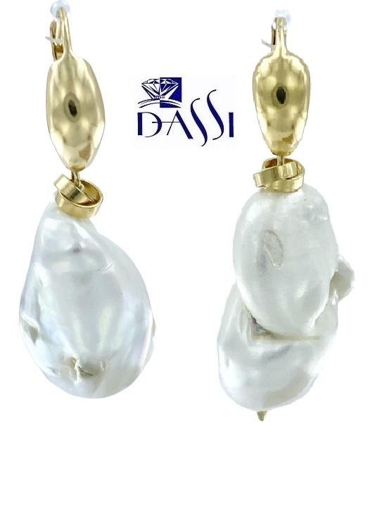 Orecchini pendenti in argento dorato 925 con 2 perle scaramazza