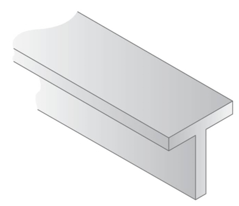 OPAQUE WHITE POLYSTYRENE T SHAPE