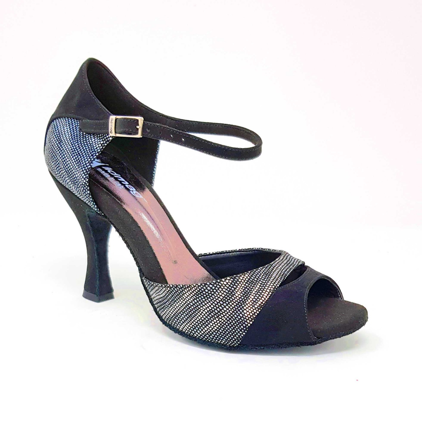 Scarpe da tango e/o  caraibici tacco a rocchetto cm 6 camoscio nero  e pelle rettile