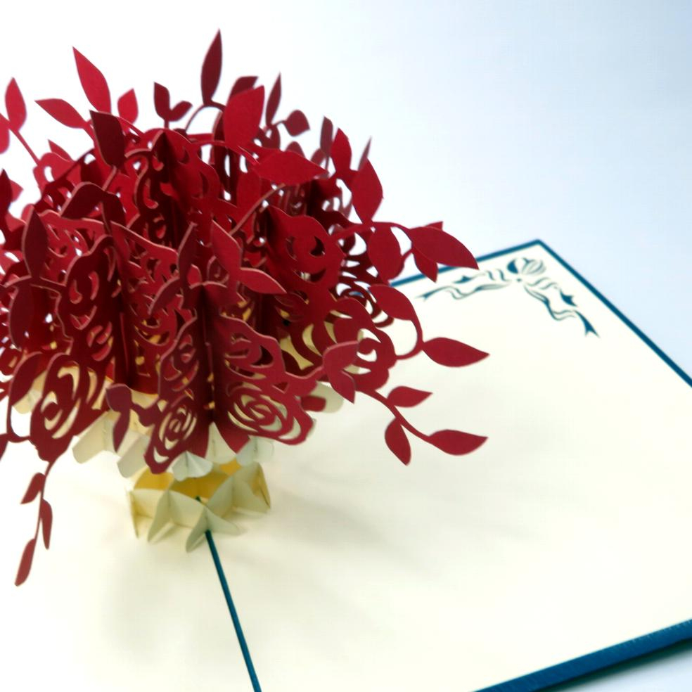 Biglietto augurale Vaso di fiori Origamo