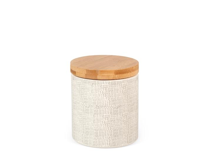 Biscottiera in porcellana decorata con coperchio in legno
